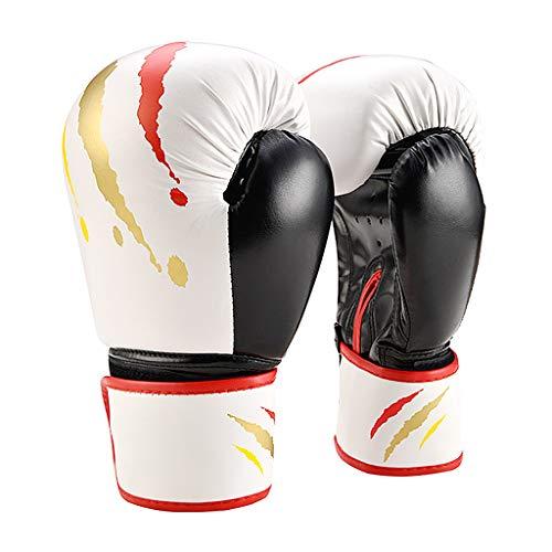 Gants De Boxe pour Muay Thai Maya Hide en Cuir pour Mitts Se Battre, Kickboxing, Sparring Ego Gants pour Punching, Tapis De Discussion, Grappling Dummy Et Double End Punching Ball,Blanc