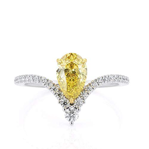 KEYZAR Fancy Canary Yellow 0.95 ct Pear Shaped Moissanite Engagement Ring, Curved Chevron, White Solid Gold, 0.27 ctw Diamonds Pave, Minimalist, Handcrafted