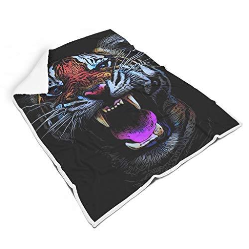 STBlanketshop Abstrakte Tiger Gestreifte Tier Kunstwerk Druck Premium Sherpa Decke Werfen Tragbar Sofa Decke Nickerchen Machen Erwachsene&Kinder White 150x200cm