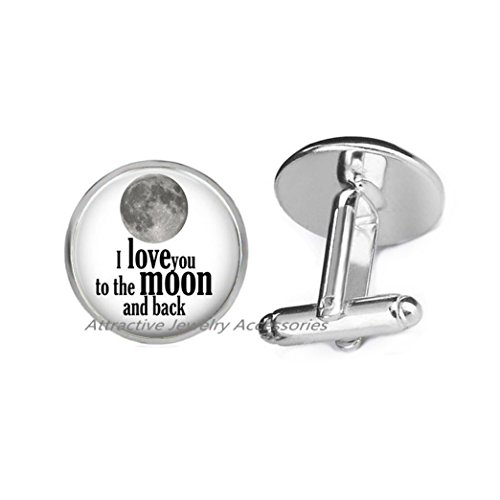 Wkloavmg I love you to the moon and back Cufflinks, valentine gift jewelry, moon Cuff Links, moon jewelry, friend gift,QK041 (Q1)