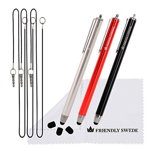 3pcs Stylus pen Styli +–universale capacitivo ad alta precisione a punte di ricambio, sostituibile 14cm con cordino elastico + panno di pulizia, da The Friendly Swede
