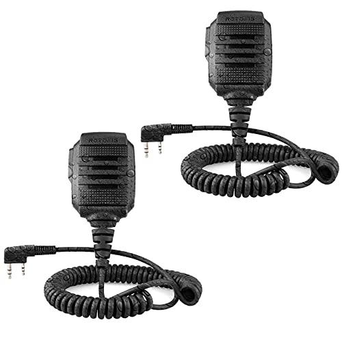 Retevis RS114 Funkgerät Lautsprecher Handheld Mikrophon 2 Pin IP54 Wasserdicht Kompatibel mit Walkie Talkie Retevis RT24 RT27 RT22 RT81 RT1 RT28 Baofeng BF-88E BF-888S Tyhbelle Kenwood(2 STK.)