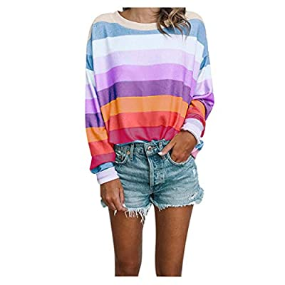 FEISI22 Women Autumn Rainbow Colorful Striped Long Sleeve Crew Neck T Shirt Color Block Casual Sweatshirt Blouse Tops