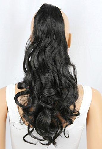 PRETTYSHOP Clip en las extensiones postizos ondulado de cabello pelo largo hechos de fibras sintéticas resistentes al calor negro natural # 2 HC14-1