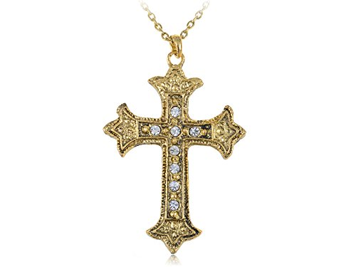 Golden Tone Metallic Color Holy Religious Celtic Cross Crystal Pendant Necklace