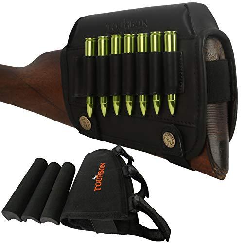 TOURBON Rifle Buttstock Shell Holder Cheek Rest Pad for Left Handed Shooter