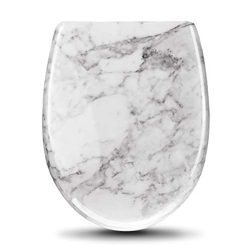 Ziigo WC Sitz O Form, Toilettendeckel Absenkautomatik, Soft close Premium Toilettensitz, Einfach abnehmbare waschbare mit one klick System,aus Antibakteriellem Duroplastik (Marmor)