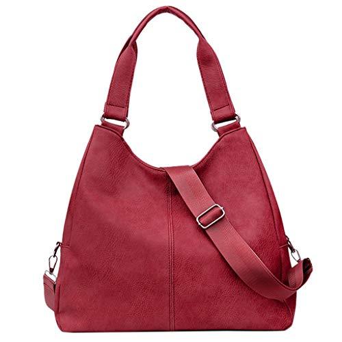 H.eternal(TM) Bolso de hombro de moda para la escuela adolescente, suave cuero artificial, gran capacidad, bolsa de viaje para mujer (Khaki, beige, café, rojo, negro, gris)