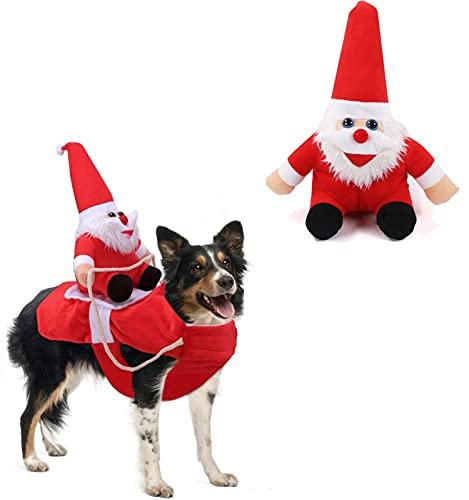 GLUSESS Disfraz de Papá Noel para perro, pijama de Navidad para perro,...