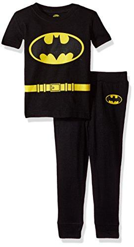 DC Comics Infant Baby 'Batman Justice League' Costume Cotton Snug Pajama Set, black, 18MO
