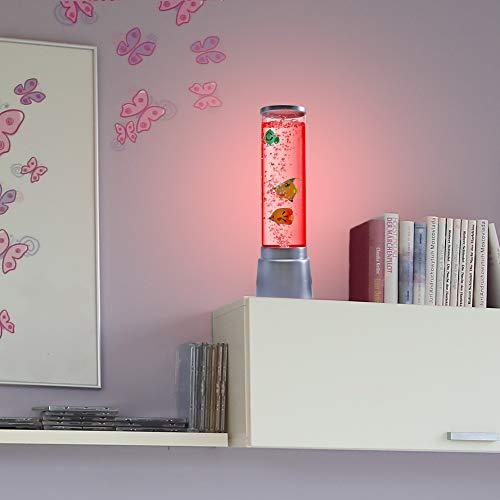 LHG Wassersäule mit Farbwechsel LED-Sprudelsäule 36 cm hoch Ø 12,5cm Säule, Tischleuchte für Kinderzimmer, Lampe mit Fischen Dekoleuchte + LED-Taschenlampe