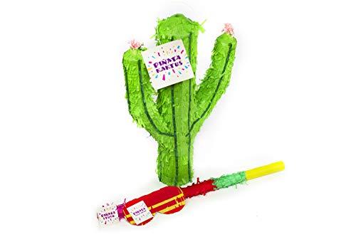 Trendario Kaktus Pinata Set, Pinjatta + Stab + Augenmaske, Ideal zum Befüllen mit Süßigkeiten und Geschenken - Piñata für Kindergeburtstag Spiel, Geschenkidee, Party, Hochzeit