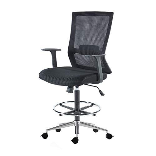 Sunon ergonomischer Bürostuhl hoch Drehstuhl Arbeitsstuhl hochverstellbar Counterstuhl aus Stoff mit Fußring, Rollen und Armlehnen,Belastbarkeit 150kg (Schwarz)