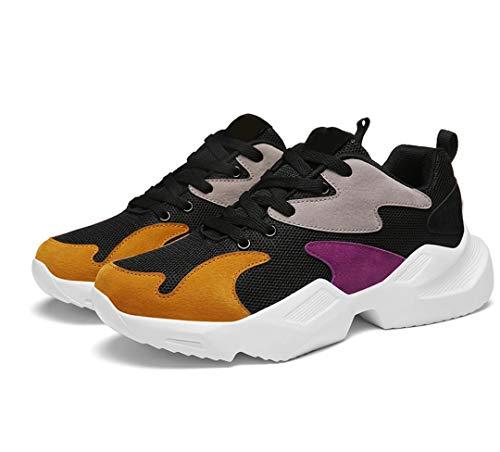Harmeet Men's Non Slip Gym Sport Black Leather Lightweight Breathable Athletic Running Walking Tennis Shoes - 7 UK