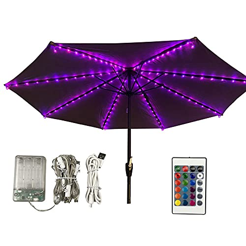 Patio Umbrella Lights, with Remote Control Battery Operated Waterproof, USB Powered Parasol Lights,LED Parasol String Lights,16 RGB Colours Changing,4 Lighting Modes, for Camping Tents Beach