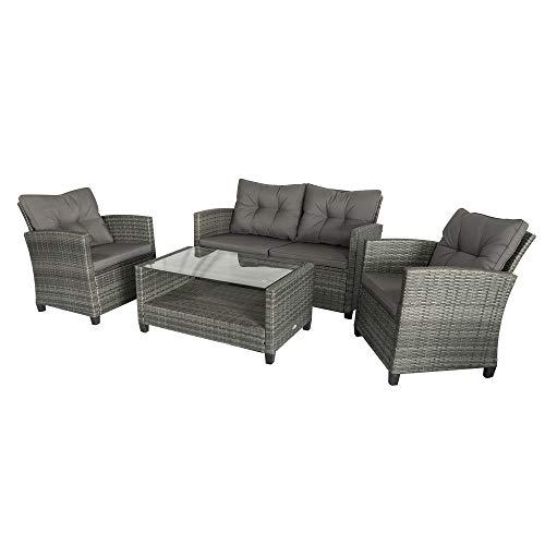Outsunny Polyrattan Sitzgarnitur 4 TLG. Sitzgruppe Gartenset Sofagarnitur Gartenmöbel Set Lounge Metall Luxus Grau