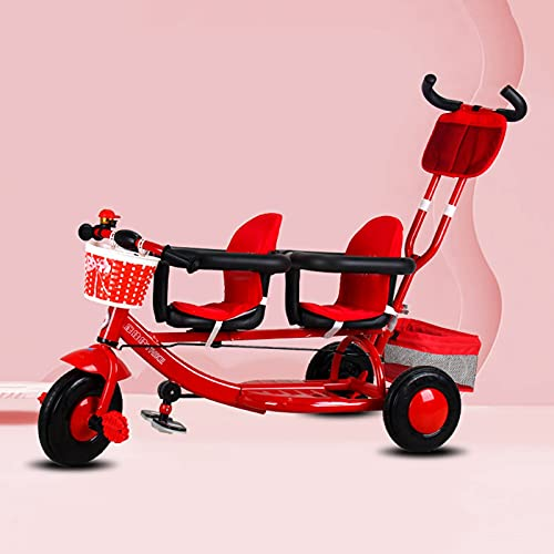 Carretto Pieghevole Carrello Carrello per passeggino gemellare - Doppio triciclo, auto tandem multifunzionale con ombrello centrale, artefatto da viaggio in bicicletta per neonati e bambini leggero, p