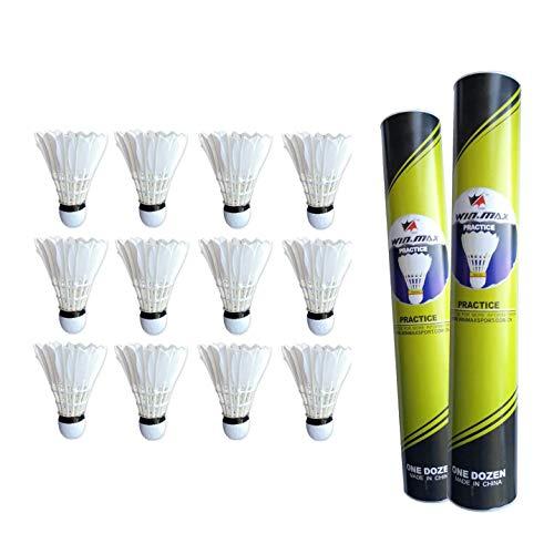 Rayline Sport Serie Federball Badminton Federbälle Naturfederbälle 12 x Federball Set Practice mit bis zu 16 Gänsefedern für Indoor Outdoor Anfänger Fortgeschrittene Trainingsbälle