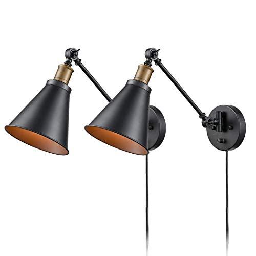 Vintage Industriel Applique Murale Réglable Noir Métal Lampe de Mur Rétro Lampe Murale Intérieur Eclairage Câble avec Interrupteur et Prise • 1mètres Fil E27 Base Pour Chambre à Coucher, Couloir,2Pack