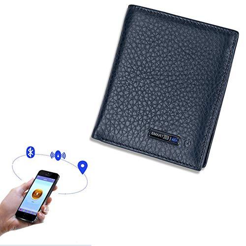 WANGOFUN Anti Lost Portemonnee Smart Bluetooth Tracking portemonnee Koeienhuid Bifold Card Houder met Alarm, Bluetooth Fotografie, Beste cadeau voor mannen