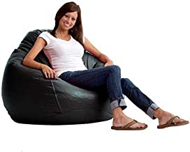 Comfy PVC Leather Bean Bag - Black, 4.5kg - 50x80cm