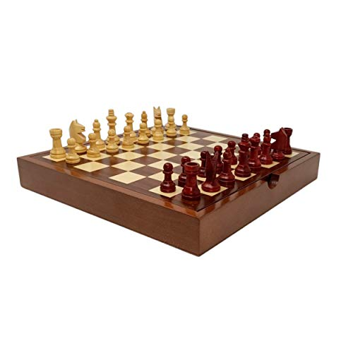 Jeu d'échecs de Voyage en Bois | Jeu Artisanal | Fabrication Traditionnelle à la Main | Echiquier 24 cm X 24 cm | Jeu d'échecs et de Dames | Jeu de société | Jeu de stratégie et de réflexion