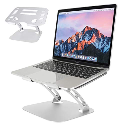 Laptop Stand, Aluminum Adjustable Laptop Riser Holder Foldable Notebook Stand for Desk Heat-Vent Non-slip Compatible with MacBook Air Pro, All 11-15.6 Inches Laptop