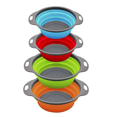 Buntes faltbares Küchensieb/Sieb, Set mit 4 Stück, Silikon, platzsparend, faltbar, perfekt zum Abtropfen von Nudeln, Gemüse (rot + blau, orange + grün)