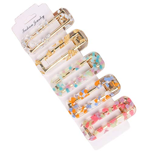 niumanery 5 Pcs/Set Fashion Wild Geometric Hairpin Moire Water Droplets Texture Bangs Hair Clip Women Girls Multiple Color BB Side Clips Hair Accessories Jewelry 4#