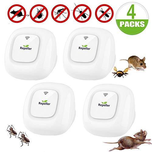Repellente Ultrasuoni,Pest Control Repeller Plug in Uso Interno, Miglior Disinfestatore per Insetti, Topi Insetti, Formiche, Zanzare, Ragni, Roditori e ROA. Nessuna Trappola (4-Pack)