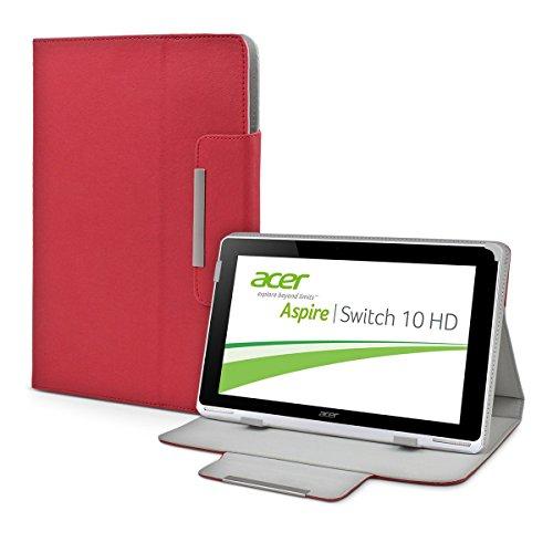 eFabrik Custodia Acer Aspire Switch 10 HD Tablet Case Cover Caso Casi Sacchetto di Protezione Folio Finta Pelle Rosso