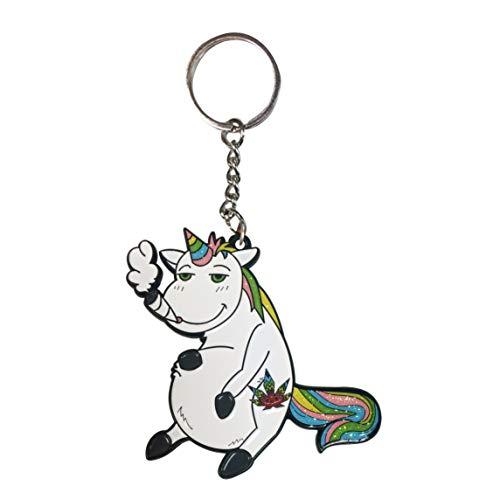 Hat Shark Pot Smoking Pals Unicorn - Enamel Metal Pendant Key Chains