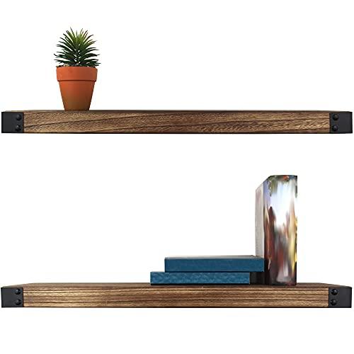 AZANO Wandregal Regalbretter Gewürzregal Wandboard | 61,5 x 15,5 x 3,8 cm | für Küche Badezimmer Wohnzimmer Flur | aus Holz und Metall Schwarz Industrial 2 Stück