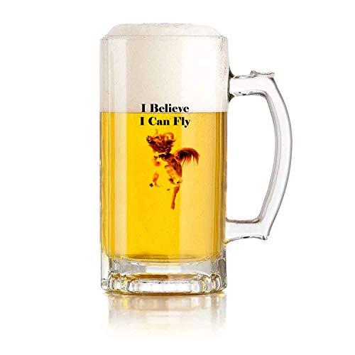 Jarra de cerveza de vidrio con asa I Believe I Can Fly - Resistente a caídas para perros y duradera