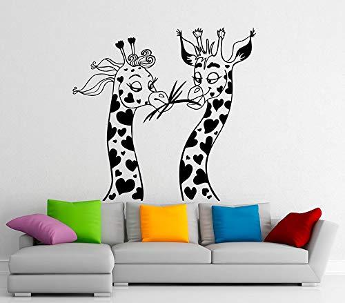 tong99 twee giraffen muurtattoo voor kinderkamer vinyl kinderkamer sticker Afrikaanse dier safari behang decals leuke decoratie 60 x 57 cm