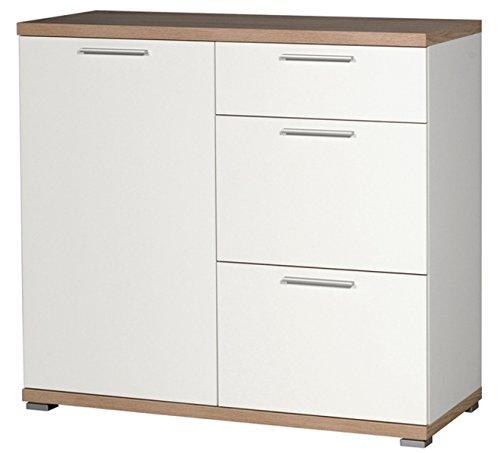 PEGANE Commode de 3 tiroirs et 1 Porte en Bois Coloris Blanc/chêne Sonoma repro - Dim : L96 x H88 x P40 cm