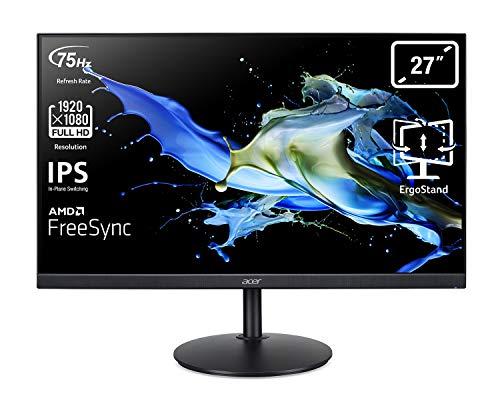 Acer CB272 Monitor 27 Zoll (69 cm Bildschirm) Full HD, 75Hz HDMI/DP, 60Hz VGA, 1ms (VRB), HDMI 1.4, DP 1.2, VGA, höhenverstellbar, drehbar, HDMI/DP FreeSync