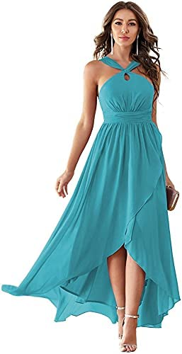 Bridesmaid Dresses Halter Women's Bohemian Ruffle Pleated High Low Formal Dresses with Pockets