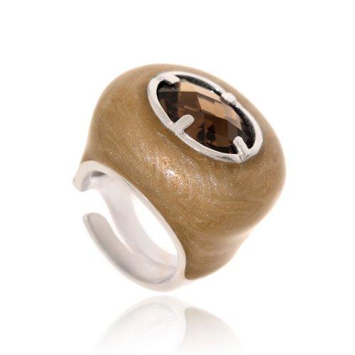 Joyasprivee X1107L - Anillo esmaltado marrón perlado y piedra fumé, talla 16