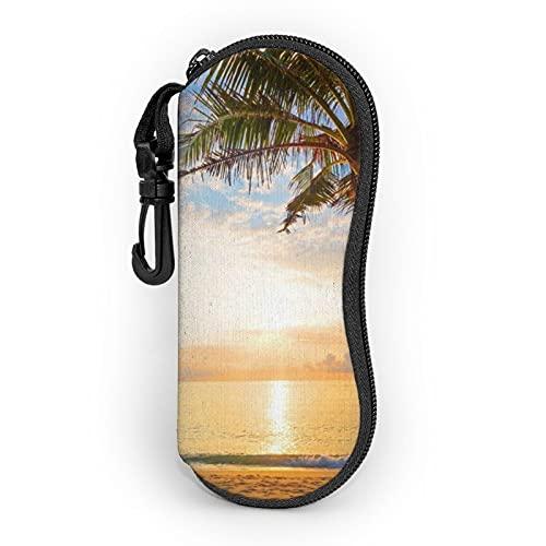 Funda suave con clip de cinturón para el mar tropical, puesta del sol, palmeras, portátil, ultra ligero, neopreno, con cremallera, para gafas de seguridad para hombre y mujer