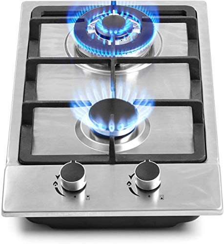 """12"""" Gas Cooktops, 2 Burner Drop-in Propane/Natural Gas Cooker, 12 Inch Stainless Steel Gas Stove Top Dual Fuel Easy to Clean (12Wx20L)"""