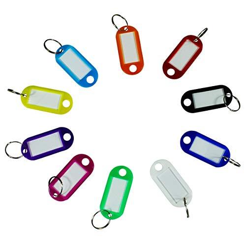40pcs Multi-couleurs Porte-clés Bagages ID Tags Étiquette en Plastic avec Porte-Clés