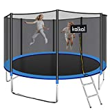 Kalkal 12' Recreational Trampoline with Safety Enclosure for Kids ,Trampoline Ladder and All Trampoline Accessories Included , 440lbs Weight Limited