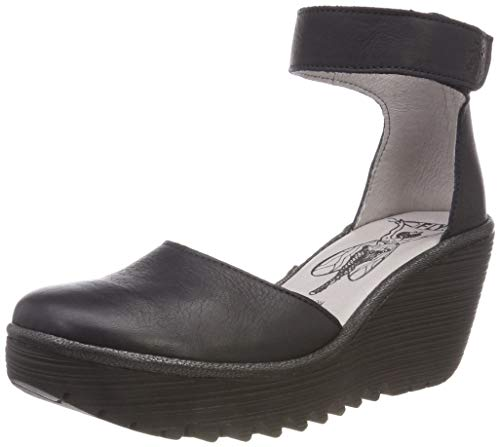 FLY London Womens Yand Strappy Leather Summer Shoes Wedge Heel Sandals - Navy/Black - 8