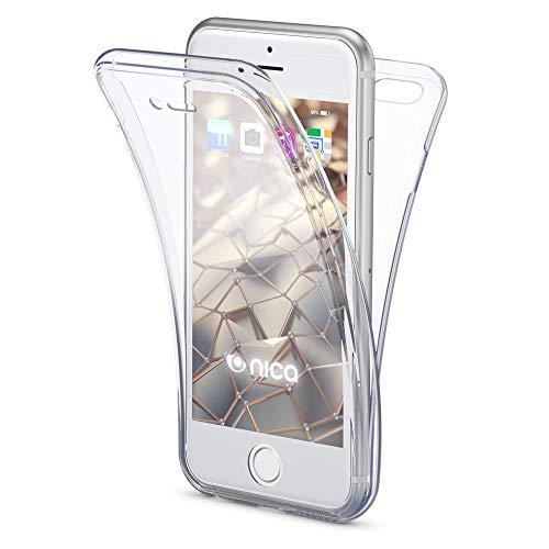 NALIA Funda 360 Grados Compatible con iPhone 6 6S, Delantera Trasera Protectora Movil Silicona Carcasa, Ultra-Fina Gel Transparente Doble Cubierta Goma Bumper Cover Smart-Phone Case - Transparent