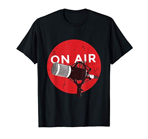 Vintage Retro Style Microphone On Air Radio Podcast T-Shirt