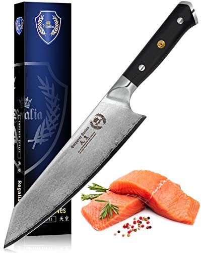 Kiritsuke Chef Knife: Best Quality Professional Japanese 8.5 Inch AUS10 Premium High Carbon 67 Layer Damascus Steel Chef's knives w/G-10 Handle By Regalia Knives