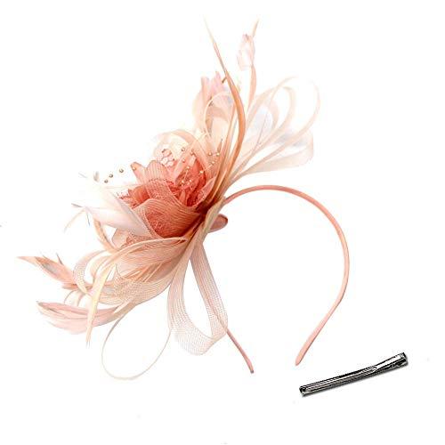 Hidoll - Eleganter Damen-Fascinator Hochzeits-Hut, -Federn, Haarclip, Zubehör, Cocktail Royal Ascot Gr. 90, A-Champagner