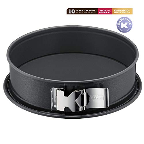 Kaiser La Forme Plus Springform, 28 cm rund, Flachboden, runde Backform, SafeClick-Verschluss, Emailleboden, antihaftbeschichtet, schnittfest, auslaufsicher
