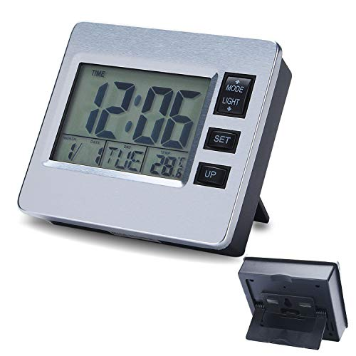 Digital Alarm Clock Magnetic Bedroom Clock for Seniors Classroom Kitchen Table Timer 12 / 24 Hour Date Week Indoor Thermometer Magnet Backlight Battery Operated Suck on Refrigerator Office